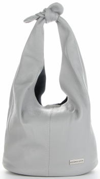 Vittoria Gotti Made in Italy Modny Shopper XL z Kosmetyczką Uniwersalna Torba Skórzana na co dzień Jasno Szara