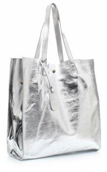 Torba Skórzana Shopper Bag z Kosmetyczką Srebrna