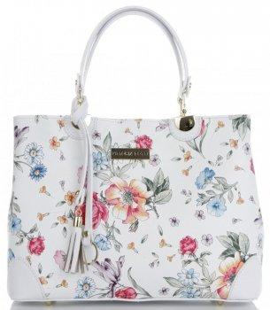 Vittoria Gotti Modna Torebka Skórzana Elegancki Kuferek Made in Italy we wzór kwiatów Biały