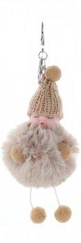 Brelok do torebki Slippy Baby z futerkiem Beżowy