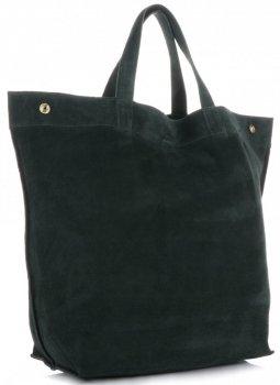 Włoski Skórzany Shopper XL firmy Vera Pelle Butelkowa Zieleń