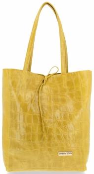 Vittoria Gotti Włoski Shopper XL Uniwersalna Torba Skórzana do noszenia na co dzień z modnym motywem Żółwia Żółta