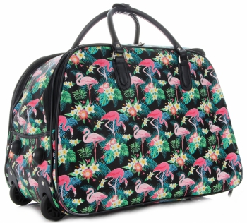 Torba Podróżna na kółkach ze stelażem Flamingi Or&Mi Multikolor Czarna