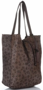 Vittoria Gotti Premium Torebka Skórzana Ażurowy ShopperBag w stylu Vintage Czekoladowa