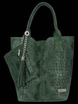 Włoskie Torebki Skórzane Shopper Bag w motyw aligatora firmy Vittoria Gotti Butelkowa Zieleń