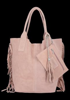 Modna Torebka Skórzana Zamszowy Shopper Bag w Stylu Boho firmy Vittoria Gotti Pudrowy Róż