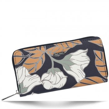 Modny Portfel Damski XL we wzór kwiatów David Jones Multikolor Szary