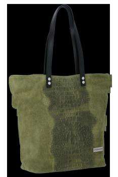 Włoska Torebka Skórzana Shopper w motyw aligatora firmy Vittoria Gotti Zielona