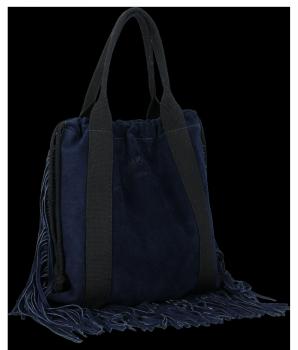 Vittoria Gotti Włoska Torebka Skórzana Shopper Bag w stylu Boho Granat