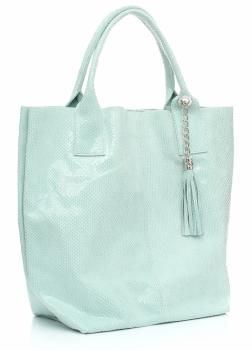 Shopperbag modna torebka Skórzana Lakier Miętowa