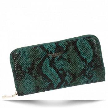 Ekskluzywne Portfele Damskie XL w motyw węża firmy Diana&Co Zielony
