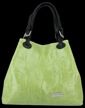 Vittoria Gotti Firmowa Torebka Skórzana Włoski Shopper w modny motyw Żółwia Jasno Zielona