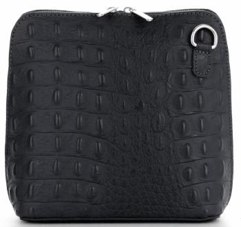 Włoska Torebka Skórzana Listonoszka firmy Genuine Leather we wzór Krokodyla Czarna