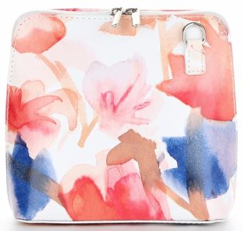 Vittoria Gotti Firmowa Listonoszka Skórzana Made in Italy w malowany wzór kwiatów Czerwona