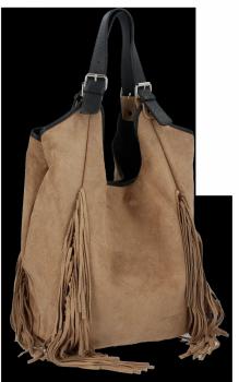 Modne Torebki Skórzane Shopper Bag z Frędzlami firmy Vittoria Gotti Ziemista