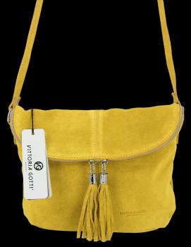 Uniwersalna Listonoszka Skórzana na co dzień w rozmiarze M firmy Vittoria Gotti  Limonka