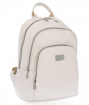 Dwukomorowe Uniwersalne Plecaczki Damskie 100% Vegan firmy David Jones Jasno Beżowy