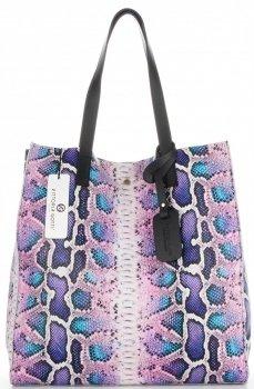 Vittoria Gotti Ekskluzywny Firmowy Shopper XL produkcji Włoskiej w modny wzór węża z Kosmetyczką Jasny Fiolet