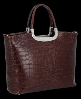 Elegancki Kuferek Skórzany w motyw aligatora Vittoria Gotti Made in Italy Brązowy