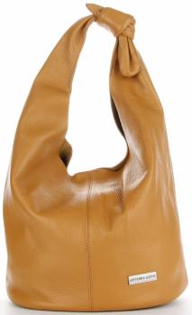 Vittoria Gotti Made in Italy Modny Shopper XL z Kosmetyczką Uniwersalna Torba Skórzana na co dzień Ruda