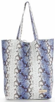 Vittoria Gotti Made in Italy Modny Shopper XL z motywem węża Niebieski