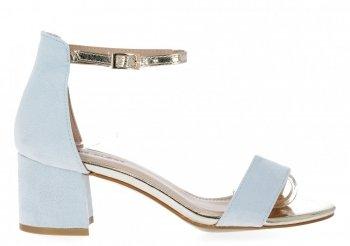 Błękitne sandały damskie na obcasie firmy Lady Glory