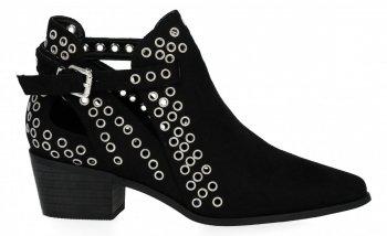 Czarne botki damskie na obcasie firmy Bellucci