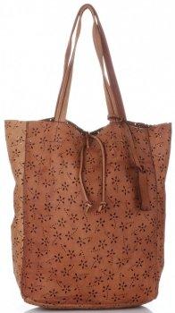 Vittoria Gotti Premium Torebka Skórzana Ażurowy ShopperBag w stylu Vintage Ruda