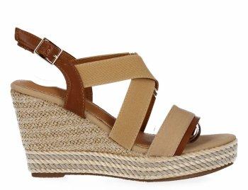 Beżowe sandały damskie na koturnie firmy Lady Glory