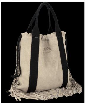 Vittoria Gotti Włoska Torebka Skórzana Shopper Bag w stylu Boho Beżowa