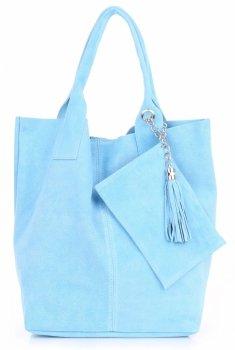 Włoska Torebka Skórzana  Shopper bag Zamsz Naturalny Błękitna