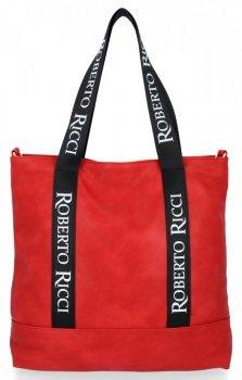 Uniwersalne i Modne Torebki Damskie Shopper w rozmiarze XL firmy Roberto Ricci Czerwona