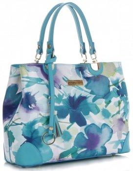 Vittoria Gotti Modna Torebka Skórzana Elegancki Kuferek Made in Italy we wzór malowanych kwiatów Multikolor Turkus