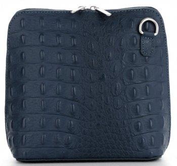 Włoska Torebka Skórzana Listonoszka firmy Genuine Leather we wzór Krokodyla Morska
