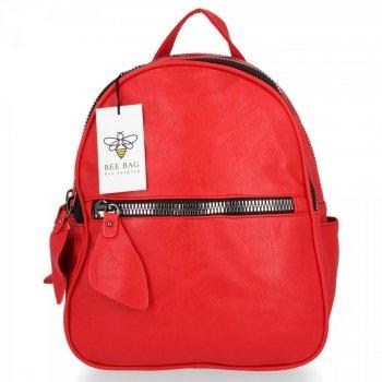 BEE BAG Dwukomorowy Plecak Damski Lara Czerwony