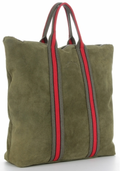 Vittoria Gotti Torebki Skórzane w modne paski Firmowy Shopper Made in Italy z funkcją Plecaczka Zieleń