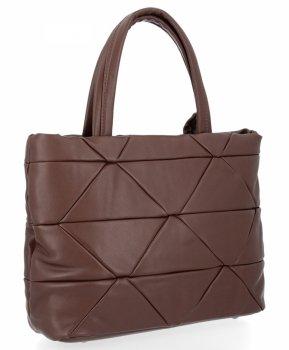 Modna Torebka Damska Herisson Shopper Bag Czekolada