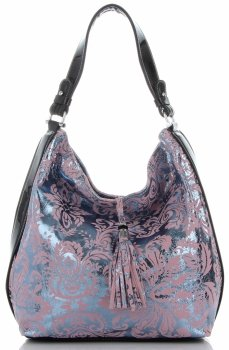 Velina Fabbiano Elegancka Włoska Torebka Skórzana w modne wzory łączone z lakierem Różowa