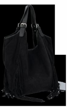 Modne Torebki Skórzane Shopper Bag z Frędzlami firmy Vittoria Gotti Czarna