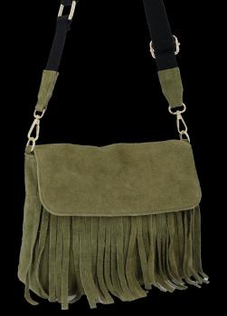 Modna Listonoszka Skórzana z Frędzlami firmy Vittoria Gotti Zielona