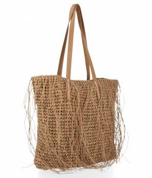 Ratanowa Torebka Damska Shopper Bag firmy David Jones Ciemno Beżowa