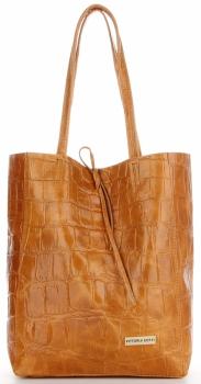 Vittoria Gotti Włoski Shopper XL Uniwersalna Torba Skórzana do noszenia na co dzień z modnym motywem Żółwia Ruda