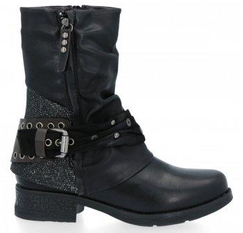 Czarne płaskie botki damskie z klamrą Silvia