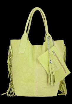 Modna Torebka Skórzana Zamszowy Shopper Bag w Stylu Boho firmy Vittoria Gotti Limonka