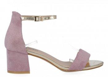Fioletowe sandały damskie na obcasie firmy Lady Glory