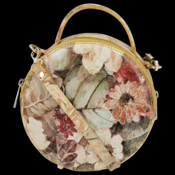 Okrągła Torebka Skórzana Listonoszka w kwiaty firmy Vittoria Gotti Żółta