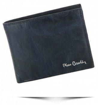 Pierre Cardin Firmowy Skórzany Portfel Męski Granatowy