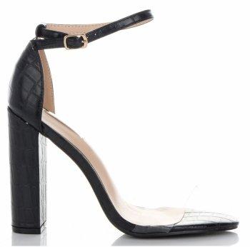Modne Sandały na Obcasie firmy Bellucci Czarne