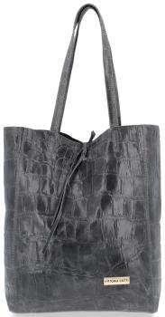 Vittoria Gotti Włoski Shopper XL Uniwersalna Torba Skórzana do noszenia na co dzień z modnym motywem Żółwia Szara