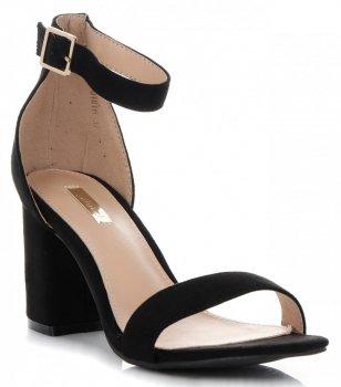 Firmowe Sandały Damskie na szerokim obcasie firmy Bellucci Czarne